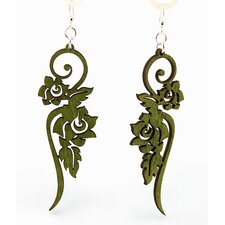 Long Ornate Flower Earrings