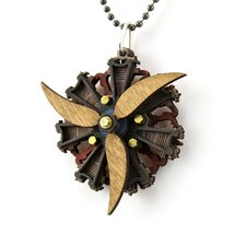 <strong>Green Tree Jewelry</strong> Wood Radial Three Propellar Engine Pendant