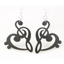 Treble Clef Heart Earrings