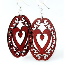 Ovals With Heart Earrings
