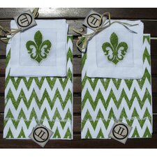 Chevron Guest Towel with Fleur De Lis Cocktail Napkin Set