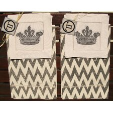 French Chevron Guest Towel with French Crown Cocktail Napkin Set