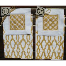 <strong>Lowcountry Linens</strong> Fretwork Guest Towel with Circle Square Cocktail Napkin Set