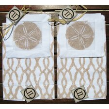 <strong>Lowcountry Linens</strong> Fretwork Guest Towel with Dollar Cocktail Napkin Set