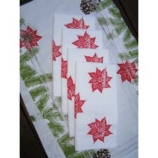Pine Garland Runner and Poinsettia Dinner Napkin Set