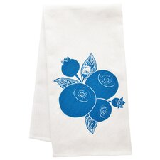 Organic Block Print Blueberry Towel