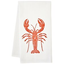 Organic Lobster Block Print Tea Towel