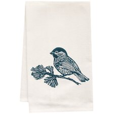 Organic Chickadee Block Print Tea Towel