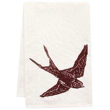 Organic Swallow Block Print Tea Towel
