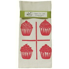 Organic Cupcake Grid Block Print Tea Towel