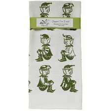 Organic Elves All Over Pattern Block Print Tea Towel