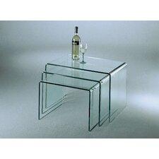 """3-tlg. Tisch Set """"ST"""" aus Floatglas in Klar"""