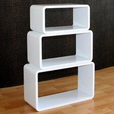 3-tlg. Regalwürfel Set oval aus Holz