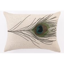 Single Peacock Down Filled Embroidered Linen Pillow