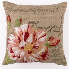 Candystripe Rose Down Filled Embroidered Pillow