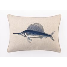 Marlin Down Filled Embroidered Linen Pillow