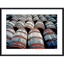 <strong>Barewalls</strong> Old Wine Barrels Metal Framed Art Print