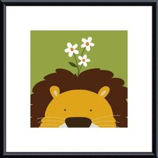 Peek-A-Boo Lion by Yuko Lau Metal Framed Art Print