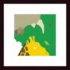 Safari Group: Giraffe and Rhino Wood Framed Art Print