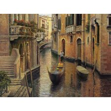 Golden Evening Gondola Gallery Wrapped Canvas Art