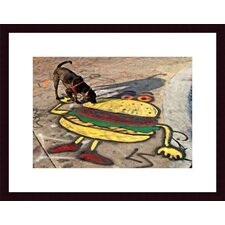 Dog and Hamburger Wood Framed Art Print