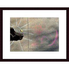 Sun, Cat and Dog Wood Framed Art Print