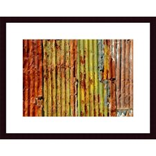<strong>Barewalls</strong> Corrugated Metal Abstract Wood Framed Art Print