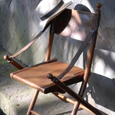 Campaign Teak and Leather Tarlton  Chair