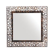 Woven Accents Square Metal Washer Mirror