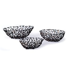 <strong>New Rustics Home</strong> Woven Accents Woven Metal Baskets (Set of 3)