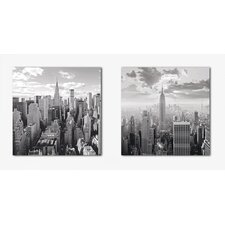 Deco Glass NY Skyline Wall Decor (Set of 2)