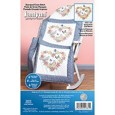 Spring Heart Quilt Blocks Stamped Cross Stitch