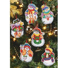 Snow Folks Christmas Ornaments Cross Stitch (Set of 6)