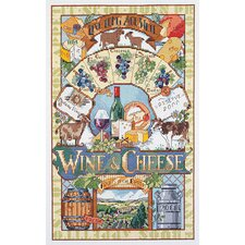 Wine & Cheese Counted Cross Stitch