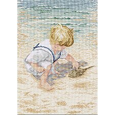 Boy With Horseshoe Crab Counted Cross Stitch