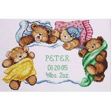 Down For A Nap Birth Announcement Counted Cross Stitch