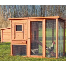 Natura Chicken Coop with Outdoor Run, Nesting Box, Roosting Pole and Pull-Out Tray
