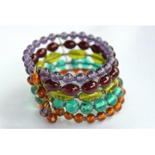 <strong>Red Water Designs</strong> 5 Strand Colorful Glass Cuff Bracelet