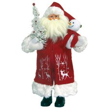 Reindeer Frolic Santa with Tree and Stars Figurine