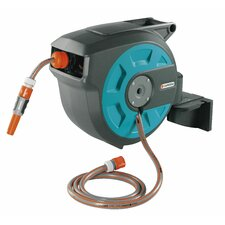 "Auto Roll Up Swivel Hose Reel + Aprox ft of 1/2"" Hose"