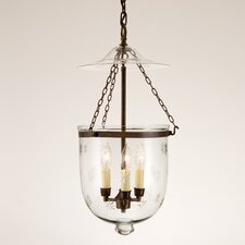 3 Light Large Bell Jar Foyer Pendant with Star Glass