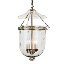 4 Light Extra Large Bell Jar Foyer Pendant with Star Glass