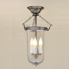 3 Light Bell Jar Elongated Semi Flush Mount