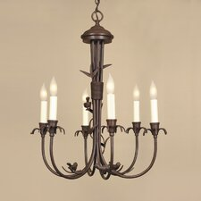6 Light Bird Brass Chandelier