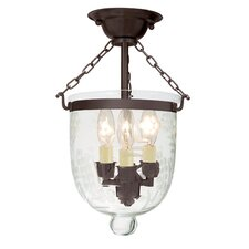 3 Light Small Semi Flush Mount with Flower Glass