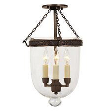 3 Light Medium Bell Jar Foyer Pendant