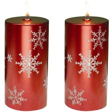 <strong>Biedermann and Sons</strong> Snowflake Pillar Candles (Set of 2)