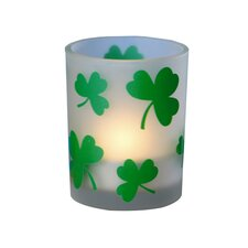 Glass Frosted Shamrock Votive Candle Holder
