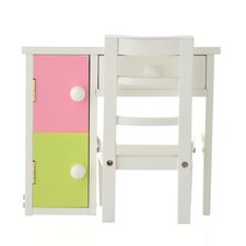2 Piece Doll Loft Bed Desk and Chair Set