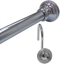 Finial Shower Curtain Rod with Round Hooks